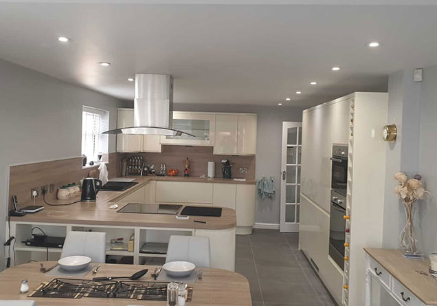 large kitchen freshly plastered in Doncaster