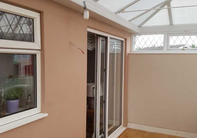Conservatory wall plastered in Doncaster