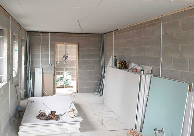 new build prepared for plastering work Doncaster